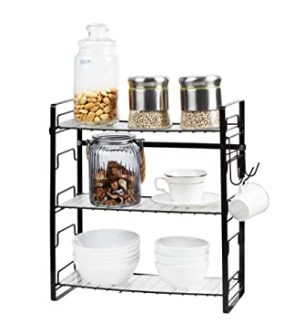 Amazon Com Adjustable Steel 3 Tier Spice Rack Wall Mount Kitchen