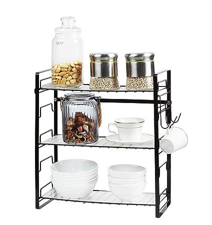 Estanterías de cocina de acero ajustable simple y moderno de 3 estantes con montaje en pared