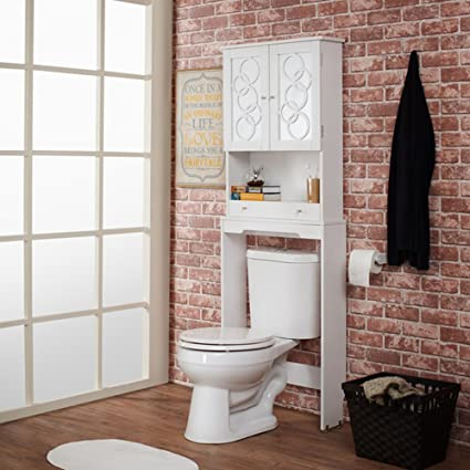 Over The Toilet Storage Cabinet Space Saver, Modern Organizer With Mirrored  Panel Doors And Additional