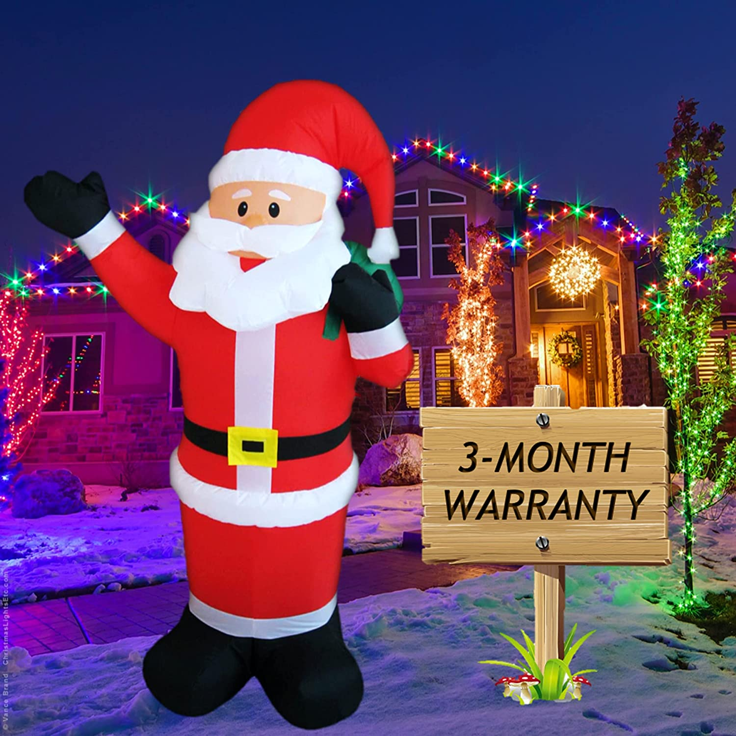 HolidayEssentials 5-FT Inflatable Christmas Santa Claus Decoration - Durable Blow Up Xmas Decor with Bright LED Lights for Indoor Outdoor Yard Lawn Garden Patio Blow Up Fan