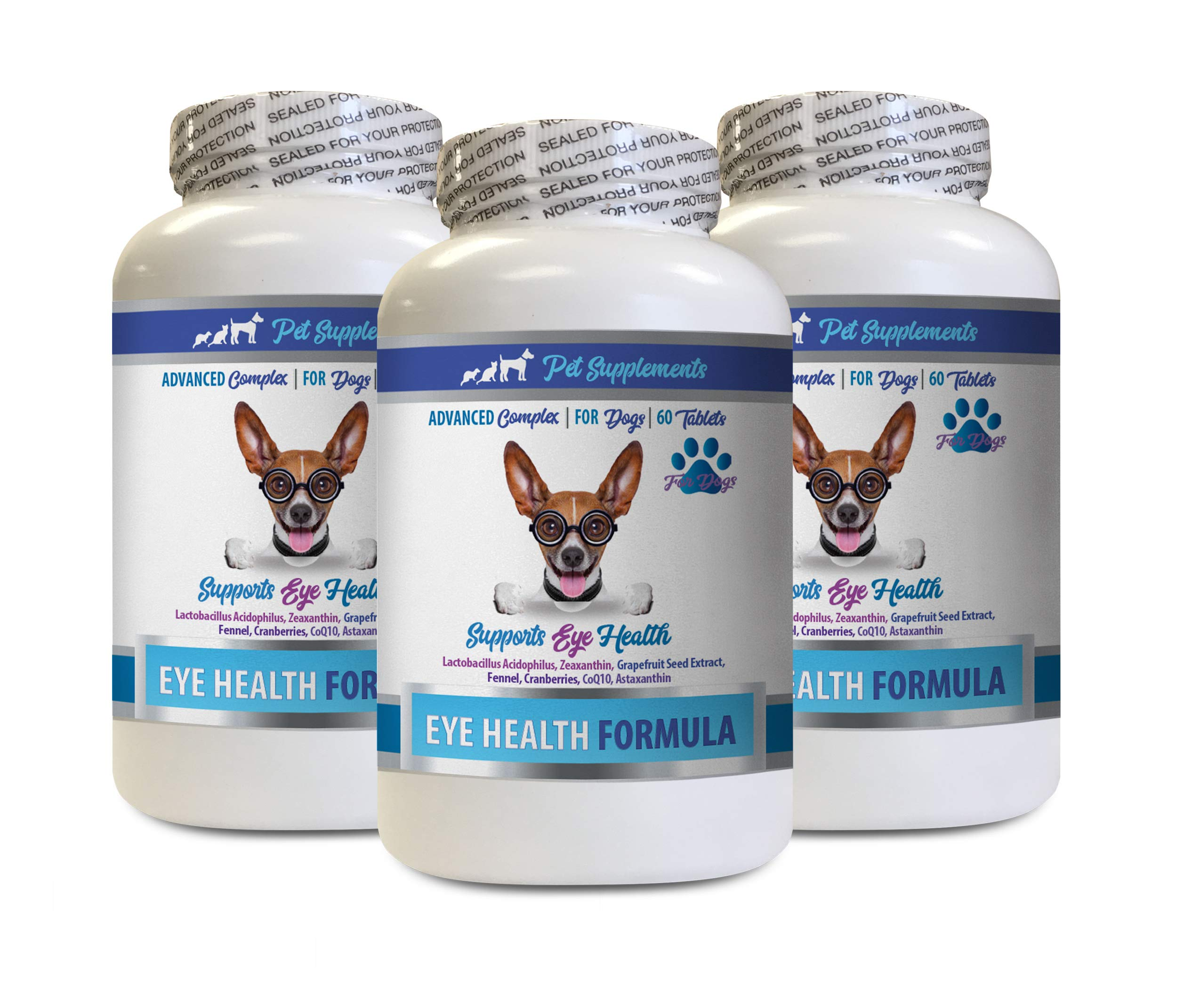 Dog Treats for Eyes - Dogs Eye Health Formula - Advanced Eye Support Complex - VETS Recommended - Dog Cranberry - 3 Bottles (180 Tablets) by PET SUPPLEMENTS