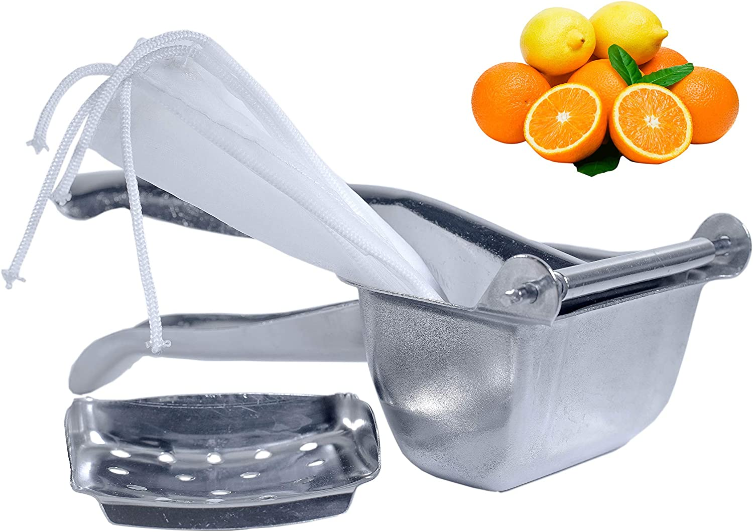 ELEV Stainless Steel Fruit Juicer – Handheld Fruit Press – Juicer Hand Press with 2 Fruit Bags Included – Easy to Wash and Use – Rustproof and Food-Grade – Ideal for Oranges, Lemons, Lime, Grapes