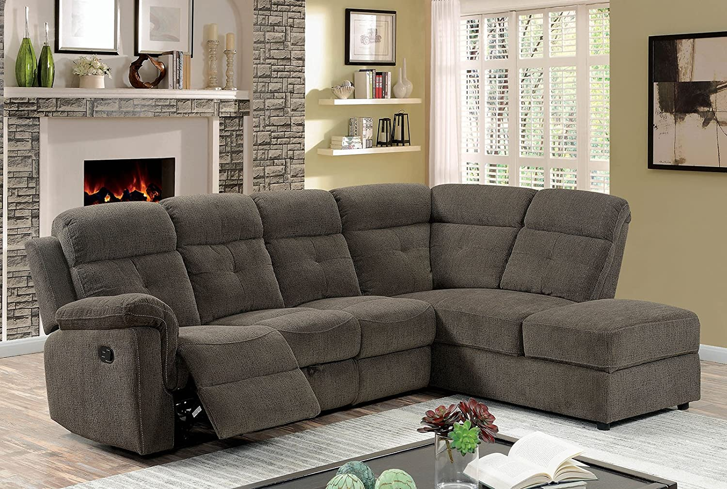 Incredible Amazon Com Avia Sectional Reclining Sofa W Drop Down Ocoug Best Dining Table And Chair Ideas Images Ocougorg