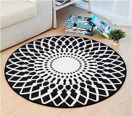 Round Creative Area Rug Ikea Style Carpet Computer Chair Mat Carpet Living Room Mats Diameter 180cm 71inches Black Amazon Co Uk Kitchen Home