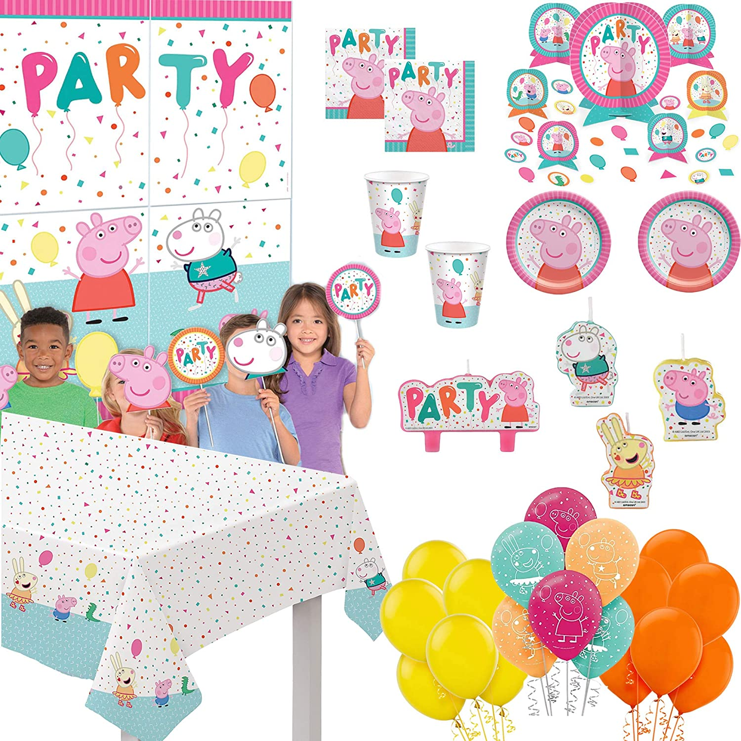 Peppa Pig Birthday Party Supplies and Decoration Pack for 16: Plates, Napkins, Cups, Table cover, Table Decoration, Candle, Peppa Pig Balloons, Wall Decoration kit, Yellow and Orange Balloons.