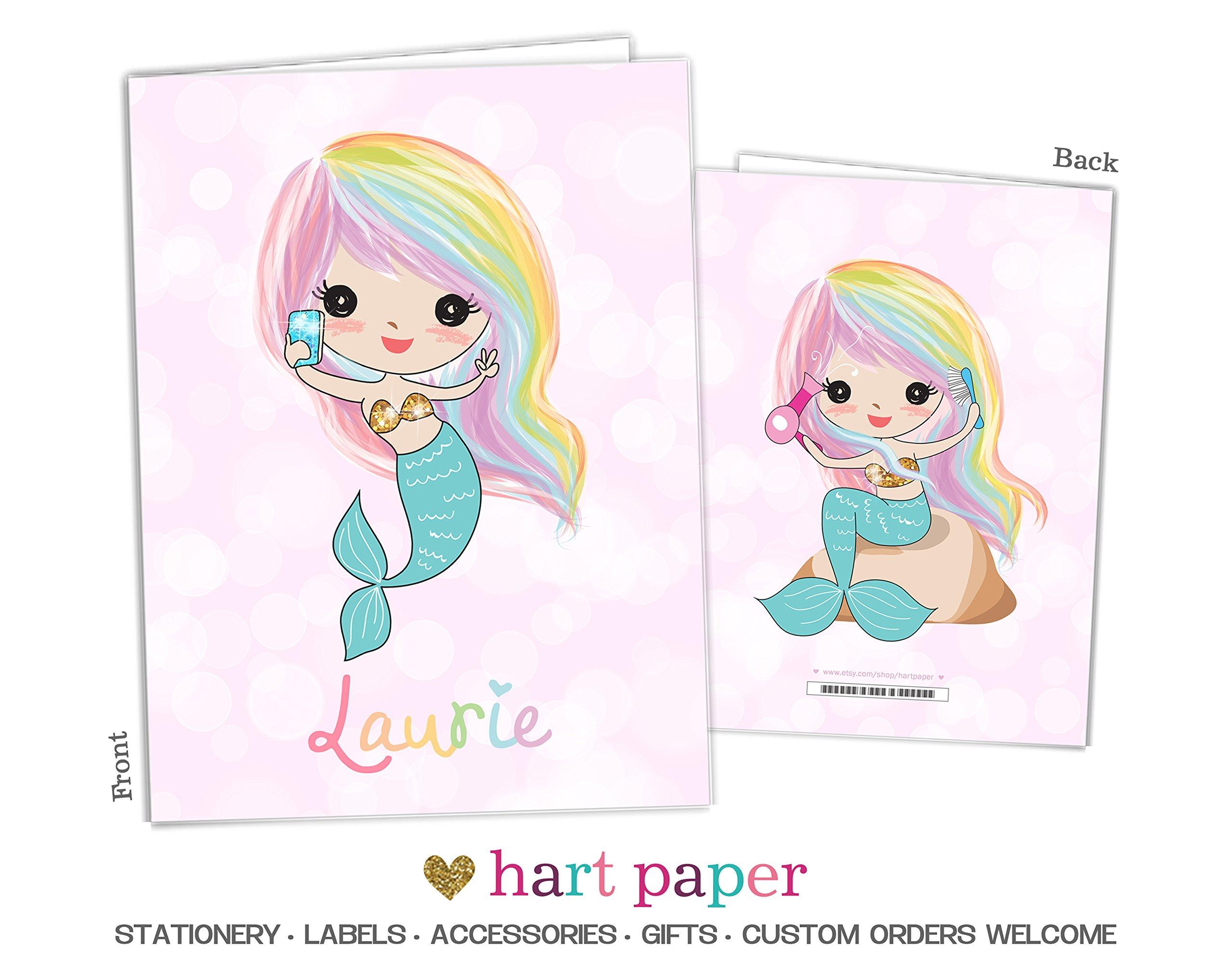 Rainbow Mermaid 2 Pocket Folder Gift Name Back to School Supplies Teacher Office Birthday Girl Boy Adult Kids Custom Personalized Custom
