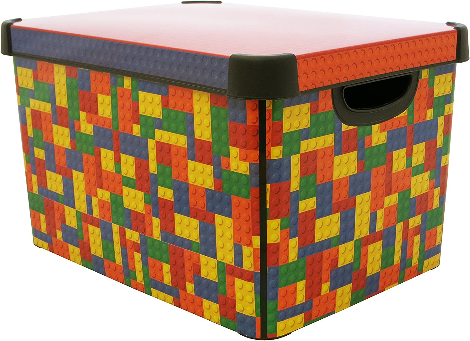 Curver Stockholm Bright Blocks Plastic Deco Storage Multi Colour Box, 22 Litre