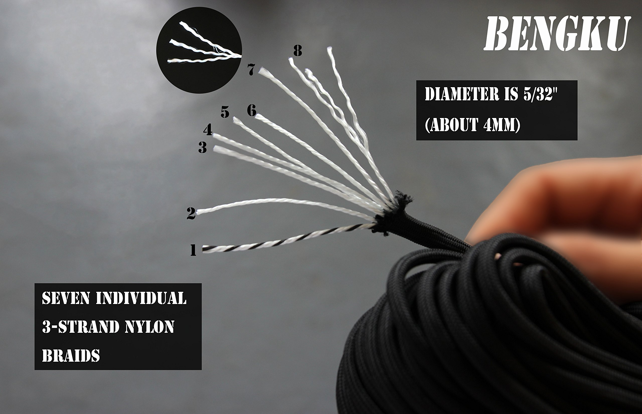 BENGKU Outdoor Survival Mil-SPEC 550lb Paracord/Parachute Cord(MIl-C-5040-H),50Feet,100% Nylon. (Black, 50) by BENGKU (Image #2)