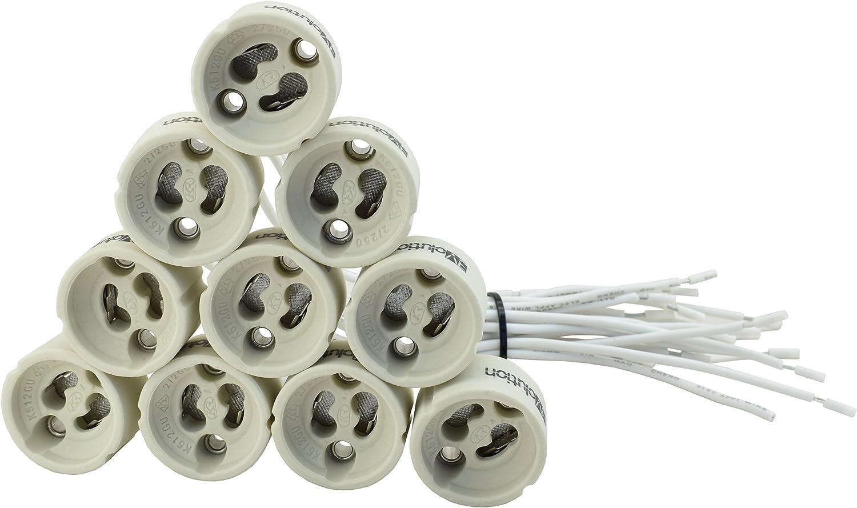 Paquete de 10 unidades Evolution GU10 Versión Zócalo Cerámica con 0,75mm² calidad de cable silicona para LED y halógeno