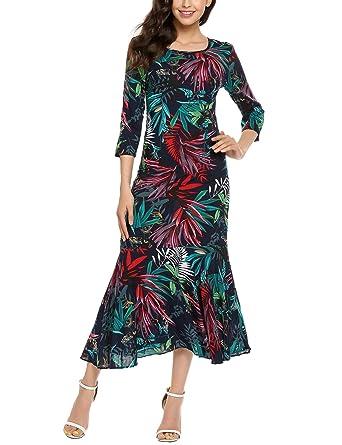 e5c53a5ae3c5 Hersife Women's Boho Floral Print 3 4 Sleeve Long Maxi Beach Dress S