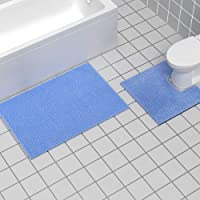 Bathroom Rugs and Mats Set, 2 Piece Chenille Bath Rug Mat Contour Set, Machine Wash Dry, Non Slip Absorbent Shaggy Bath…