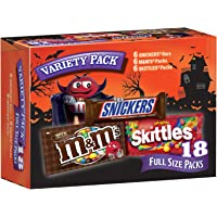 Snickers, M&M'S & Skittles Halloween Chocolate Candy, Full Size, Variety Mix, 18 Count 34.32-Ounce Box