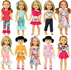 Ecore Fun 10 Sets American 14.5 Inch Wellie Doll Clothes Outfits Dresses Pajamas Hair Clips for 14 Inch Girl Wishers Dolls