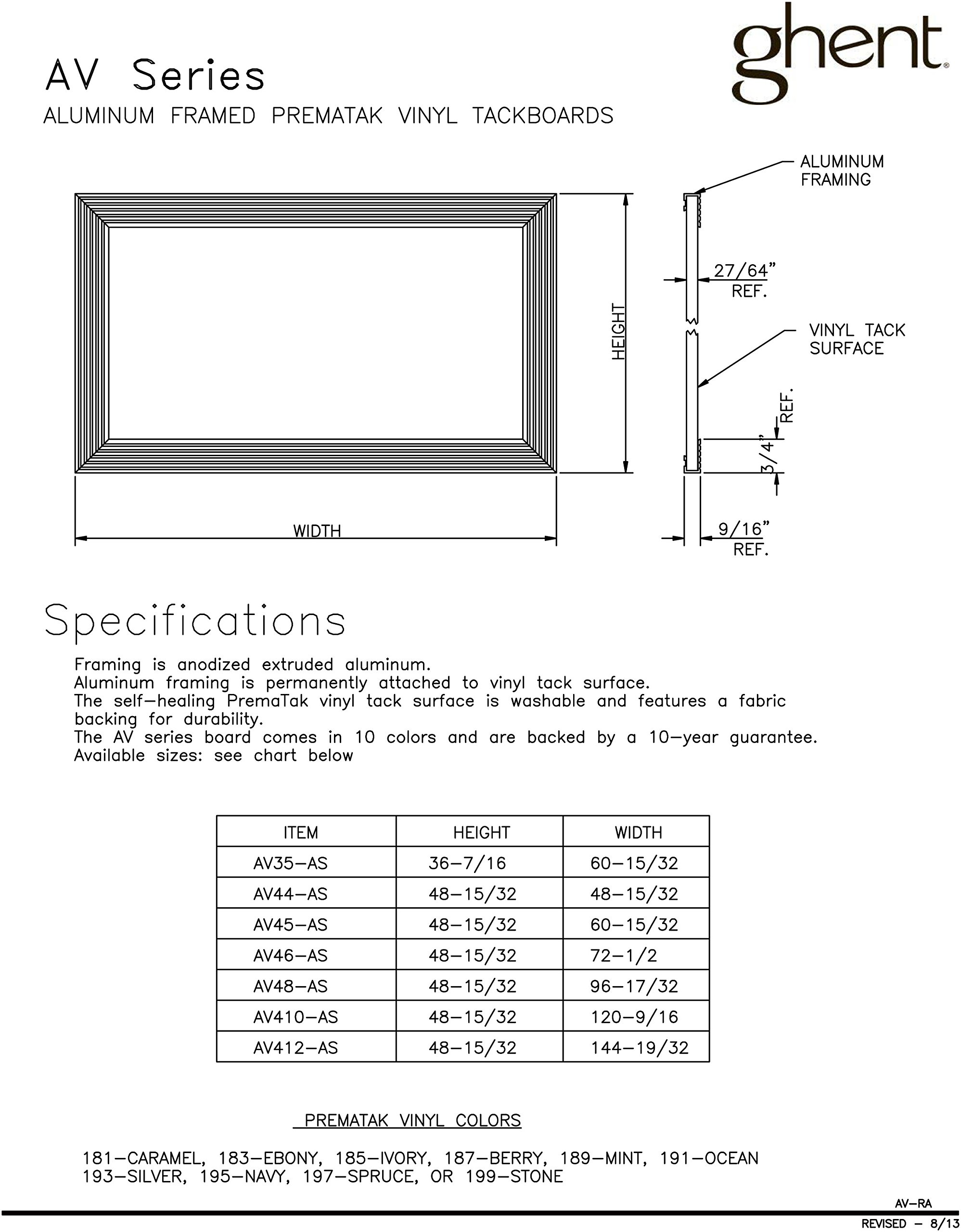 Ghent Silver Vinyl Bulletin Board, 48.5'' x 72.5'', Aluminum Frame, Made in the USA