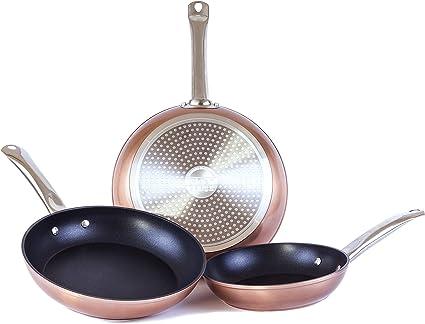 Set de 3 sartenes de aluminio cobre metalizado con revestimiento antiadherente y mango de acero inoxidable, Medidas 20-24-28 cm. Para todo tipo de cocina, SET VICKY by Cloen.: Amazon.es: Hogar