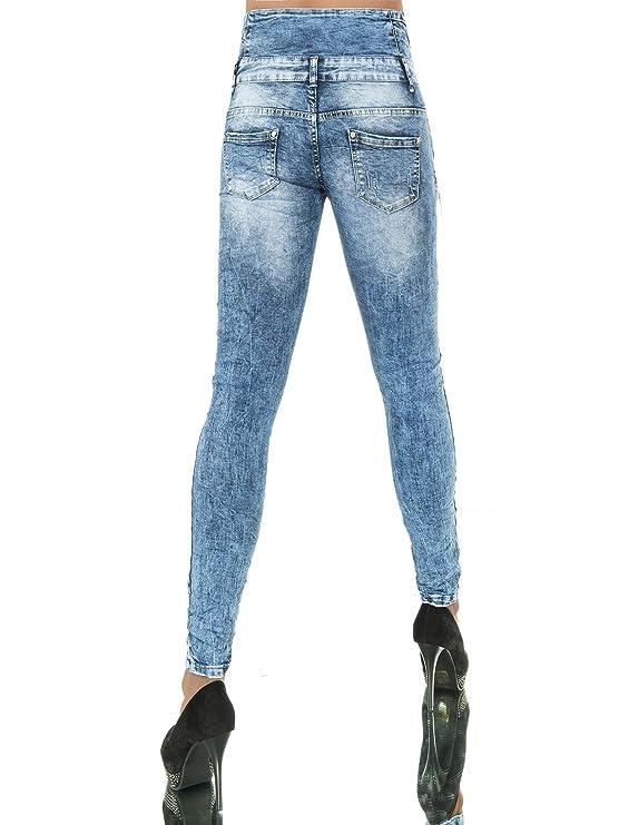 L741 Damen Jeans Hose Corsage Damenjeans High Waist Röhrenjeans Hochbund