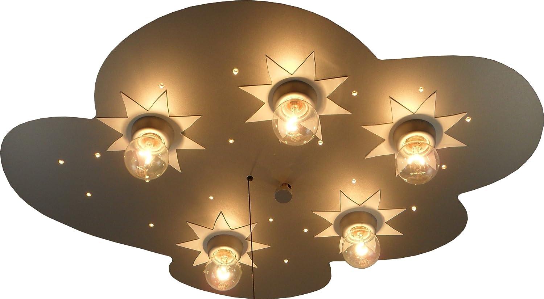 Niermann Standby 667 - Lámpara de techo LED con 5 puntos de luz (5 bombillas E14, 40 W máx.), diseño de nube, madera lacada color plateado: Amazon.es: ...