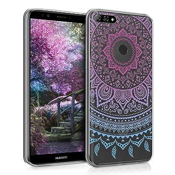 kwmobile Funda para Huawei Y7 (2018)/Y7 Prime (2018) - Carcasa de TPU para móvil y diseño de Sol hindú en Azul/Rosa Fucsia/Transparente