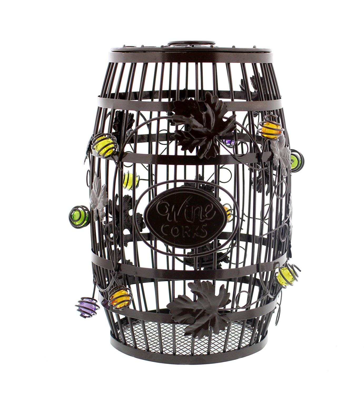"Decorative Wine Barrel Cork Holder – 100+ Cork Capacity – 10"" x 7"" Inch Wine Cork Collector Countertop Catcher Cage"