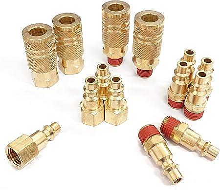 "3 Way Air Hose Coupler Splitter Manifold Block Kit 1//4/"" NPT w// Couplers /& Plug"