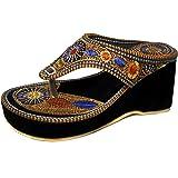 Thari Choice Women's Multicolor Velvet Fashion Sandal