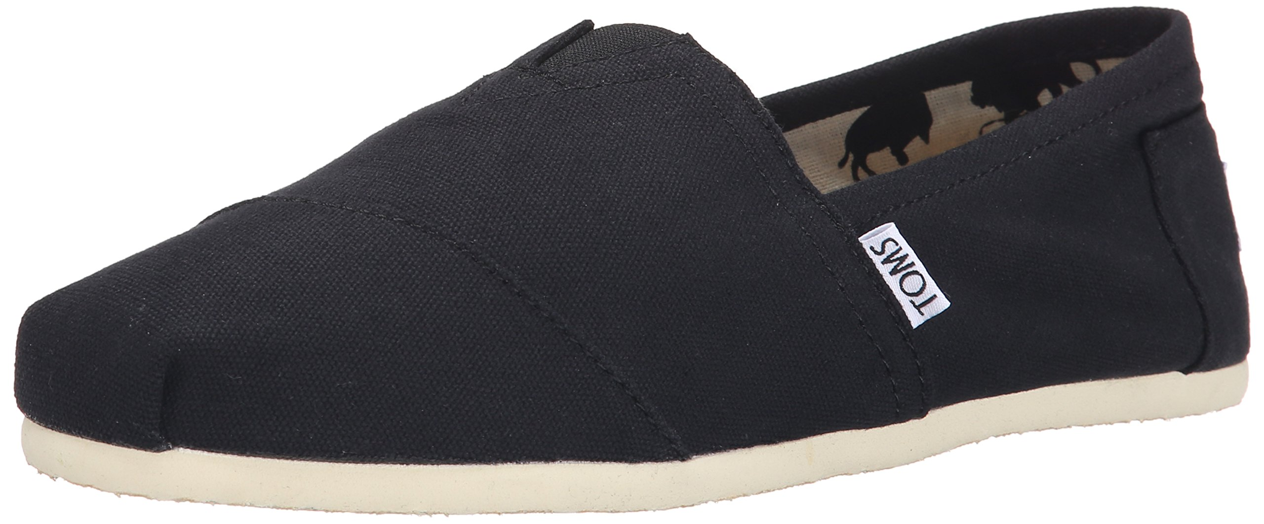 Toms Canvas Alpargata Flat (Womens)-Black-7.5 M US
