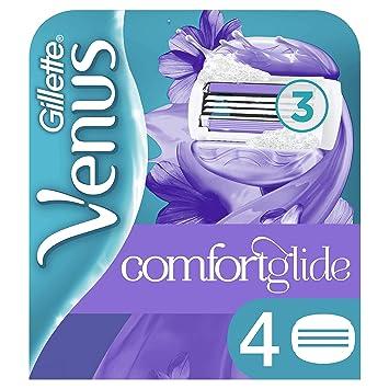 Venus ComfortGlide Breeze Recambio de maquinilla 2-en-1, con barras de gel, sin necesidad de gel de depilación, 4 uds.