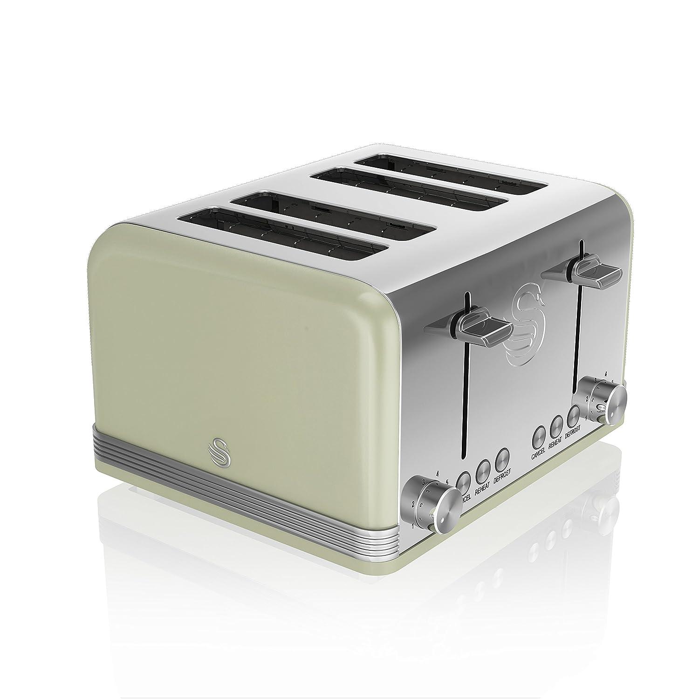 Swan ST19020GN 4-Slice Retro Toaster, 1600 W, Green: Amazon.es: Hogar