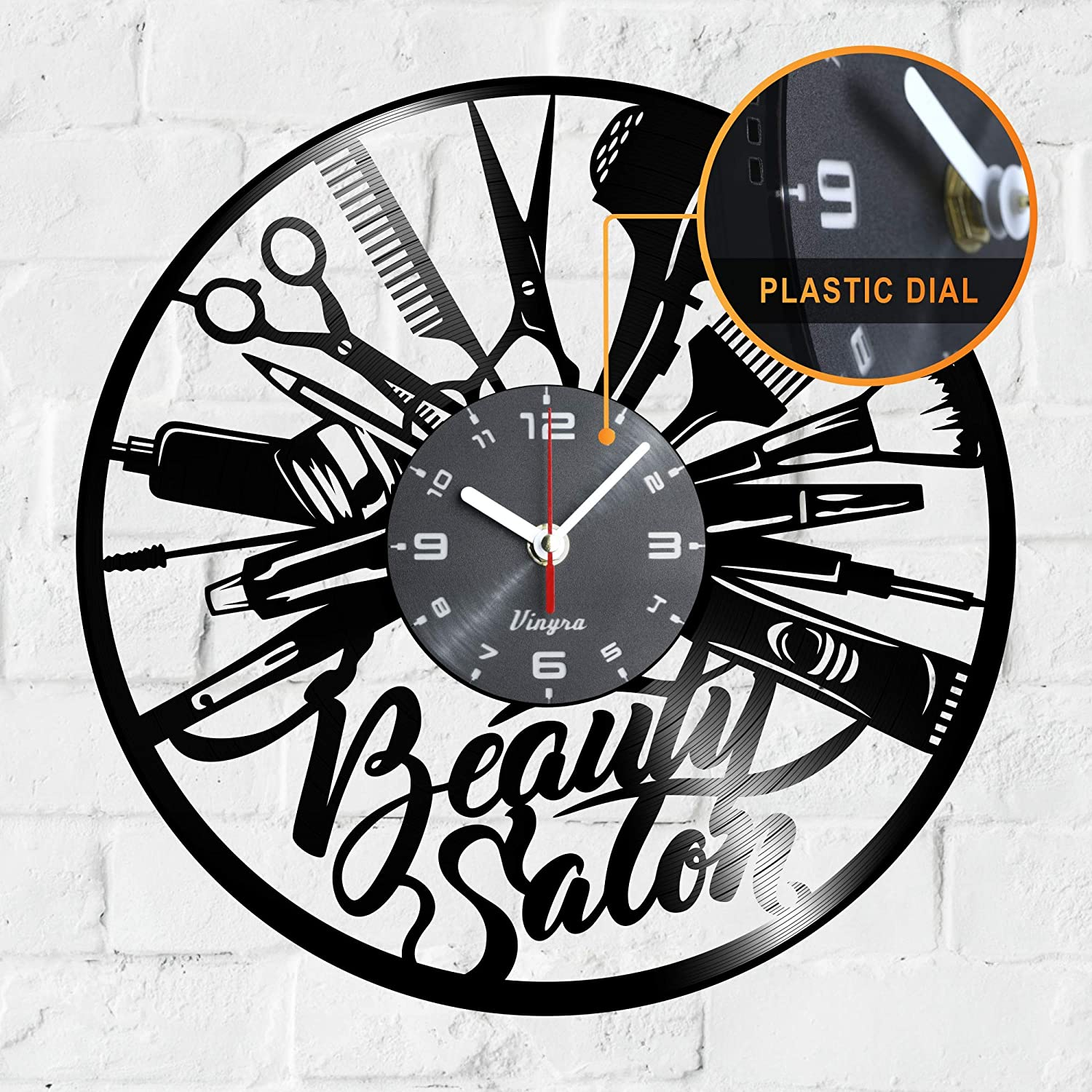 Beauty Salon Clock Vinyl - Beauty Salon Vinyl Record Wall LP Clock - Hairdresser Gifts for Hair Stylist - Beauty Salon Themed Art Wall Room Home Decor Hair Salon Wall Decorations Gift Set Clock Black