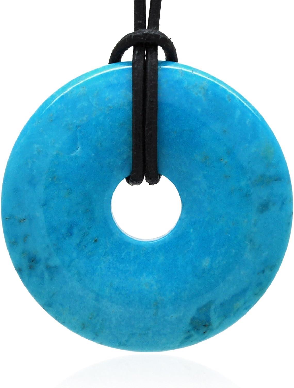 Elégance Minérale - Colgante redondo con agujero color turquesa, 40 mm