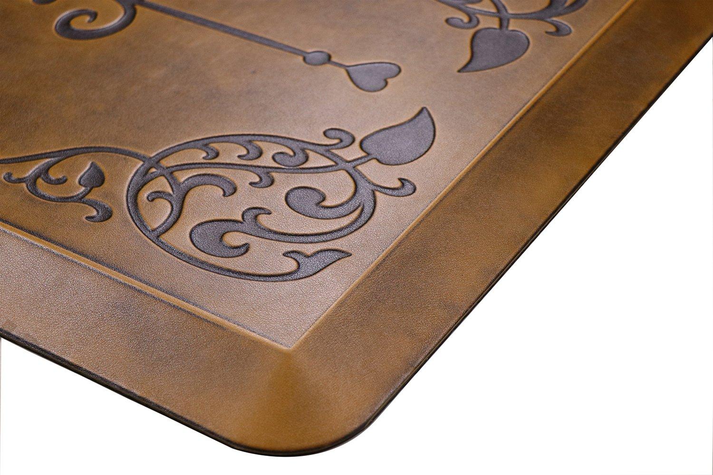 AMCOMFY Kitchen Anti Fatigue Mat,Comfort Floor Mats,Standing Desk Mats,Antique Series (24''x70''x3/4'', Love Flower Brown) by Amcomfy (Image #3)