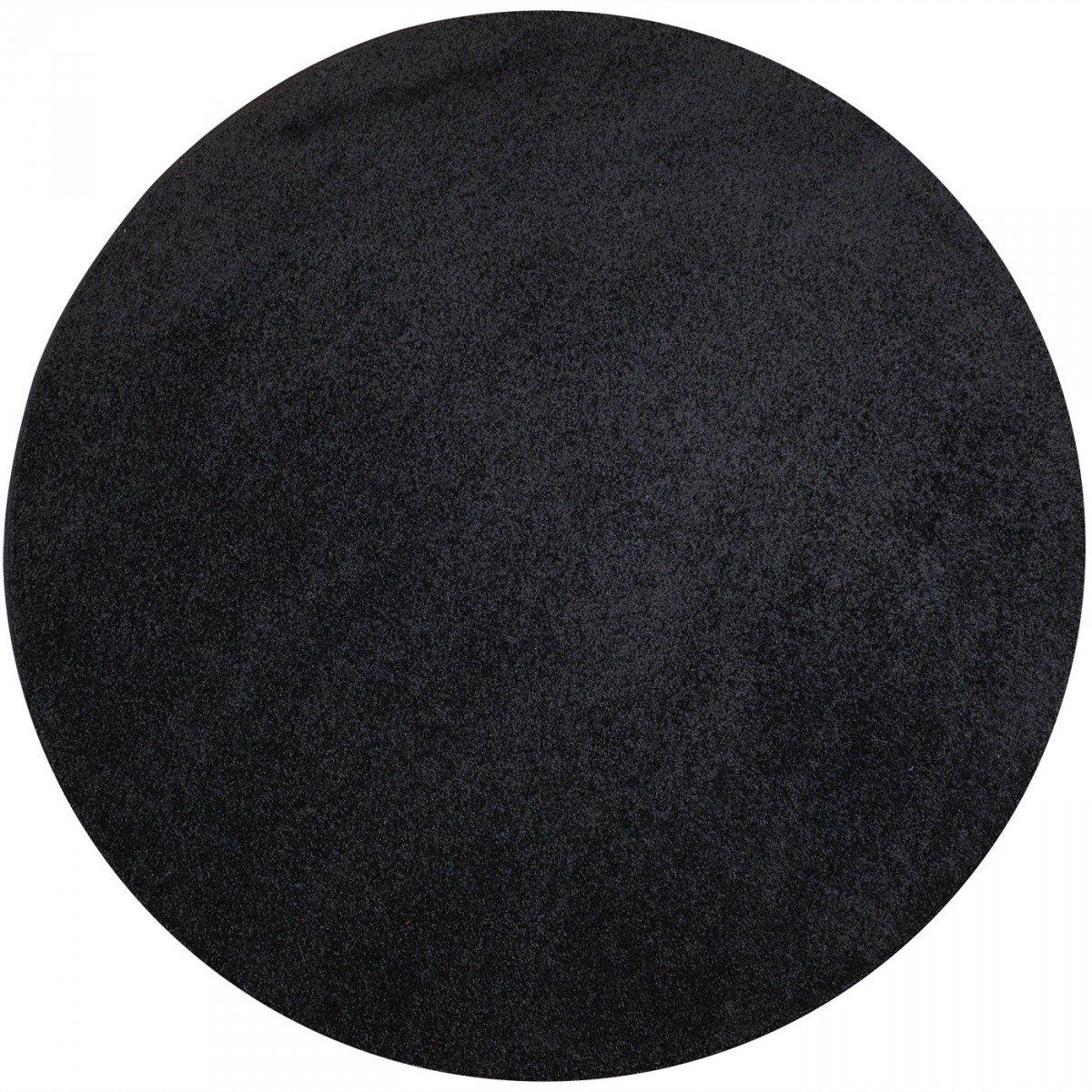 Havatex Teppich Kräusel Velour Burbon rund - 16 moderne sowie klassische Farben   schadstoffgeprüft pflegeleicht & robust   ideal für Wohnzimmer, Farbe Schwarz, Größe 67 cm rund B00FQ10DJ6 Teppiche Spielzeugwelt, glücklich und gr