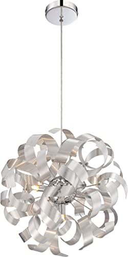Quoizel RBN2817MN Ribbons Curved Metal Pendant Ceiling Lighting, 5-Light, Xenon 200 Watts, Millenia 17 H x 17 W