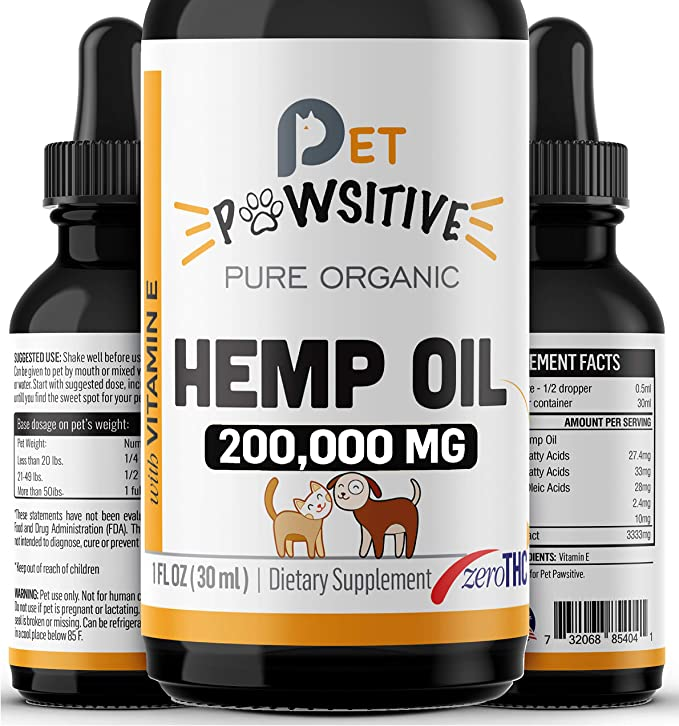 AmazonSmile : Pet Pawsitive - Hemp Oil for Dogs and Cats - Made in USA - Max Potency - Calming Aid - Separation Anxiety, Joint Pain, Stress Relief, Pains, Pet Relief - Omega 3, 6 & 9 – 100% Organic (2000MG) : Pet Supplies