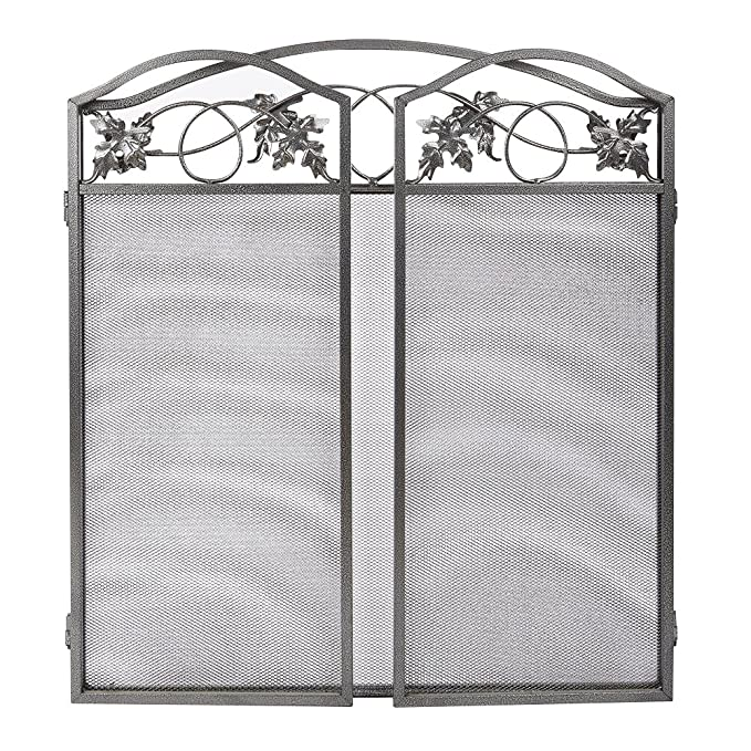 Amagabeli 3 Panel Pewter Wrought Iron Fireplace Screen Outdoor Metal