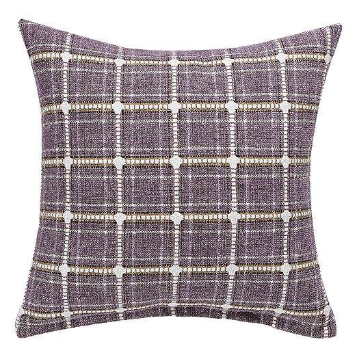Sourcingmap - Funda de cojín cuadrada de algodón y lino, diseño de cuadros de búfalo, algodón, lino, Morado, amarillo, 1 Pack/18
