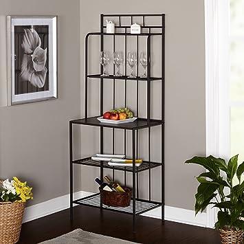 Bakers Rack 5 Shelf Metal Kitchen Storage Stand Black