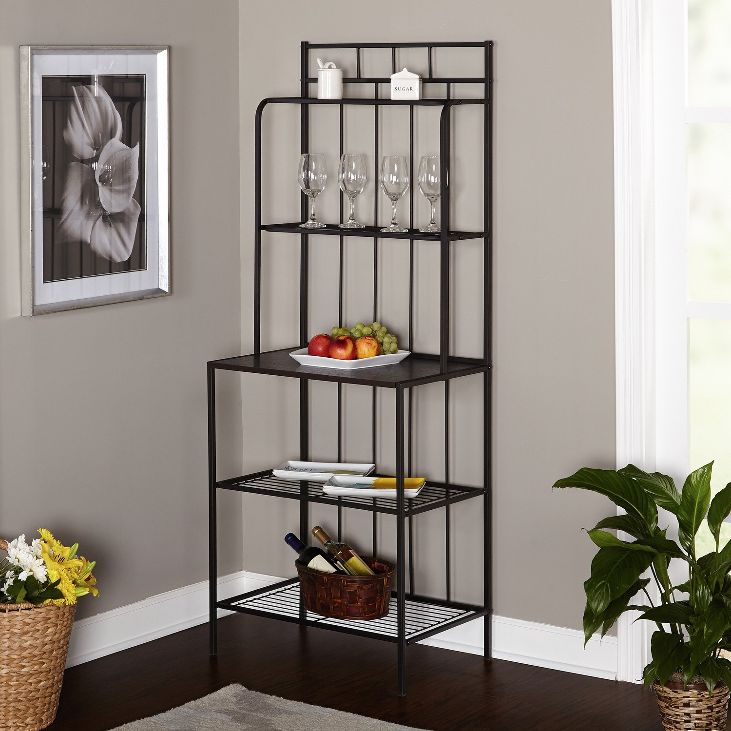 Amazon.com   Bakers Rack, 5 Shelf Metal Kitchen Storage Stand, Black    Standing Bakeru0027s Racks