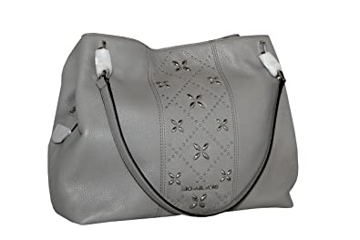 52c6a681e0da Image Unavailable. Image not available for. Color  MICHAEL Michael Kors  Women s LEIGHTON Studded Large Leather Handbag Shoulder Tote (Pearl Grey)