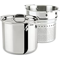 All-Clad 7-Quart Stainless Steel Tri-Ply Bonded Dishwasher Safe Pasta Pentola with Insert / Cookware (Silver /Second Quality)