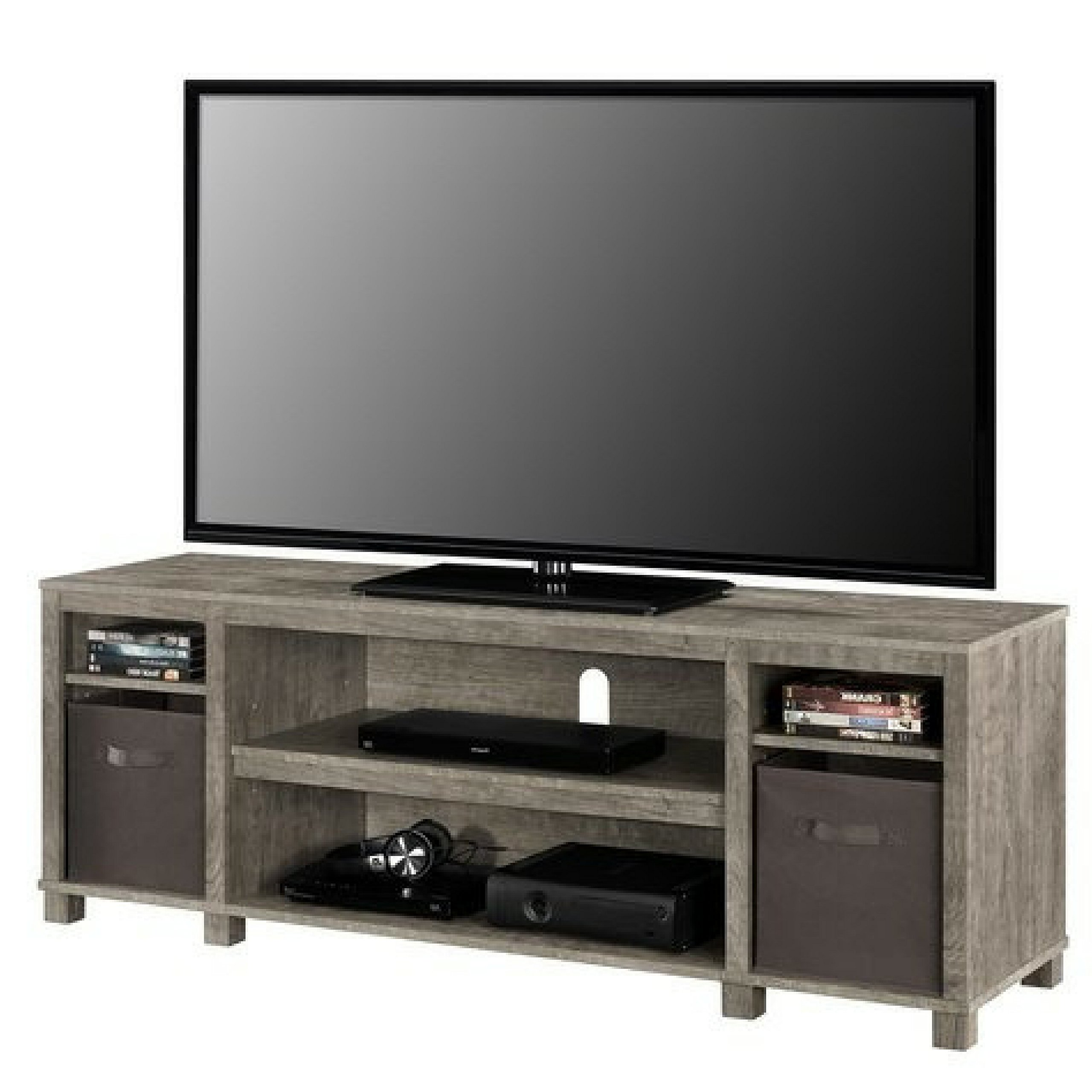 Sleek Classic Design 65'' Open Shelves Grey TV Stand with Non-Woven Fabric Bins