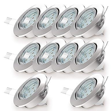 LED Einbaustrahler schwenkbar inkl. 10 x 3W Leuchtmittel GU10 IP23 Einbauleuchte warmweiss matt nickel