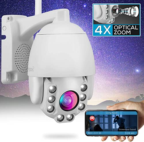 Outdoor PTZ IP Security Camera – 4X Optical Zoom – Starlight Night Vision 2mp HD 1080p Home Wireless WiFi Video Surveillance – Two Way Audio, Cloud Storage, Alexa Show – SereneLife IPCAMOD47