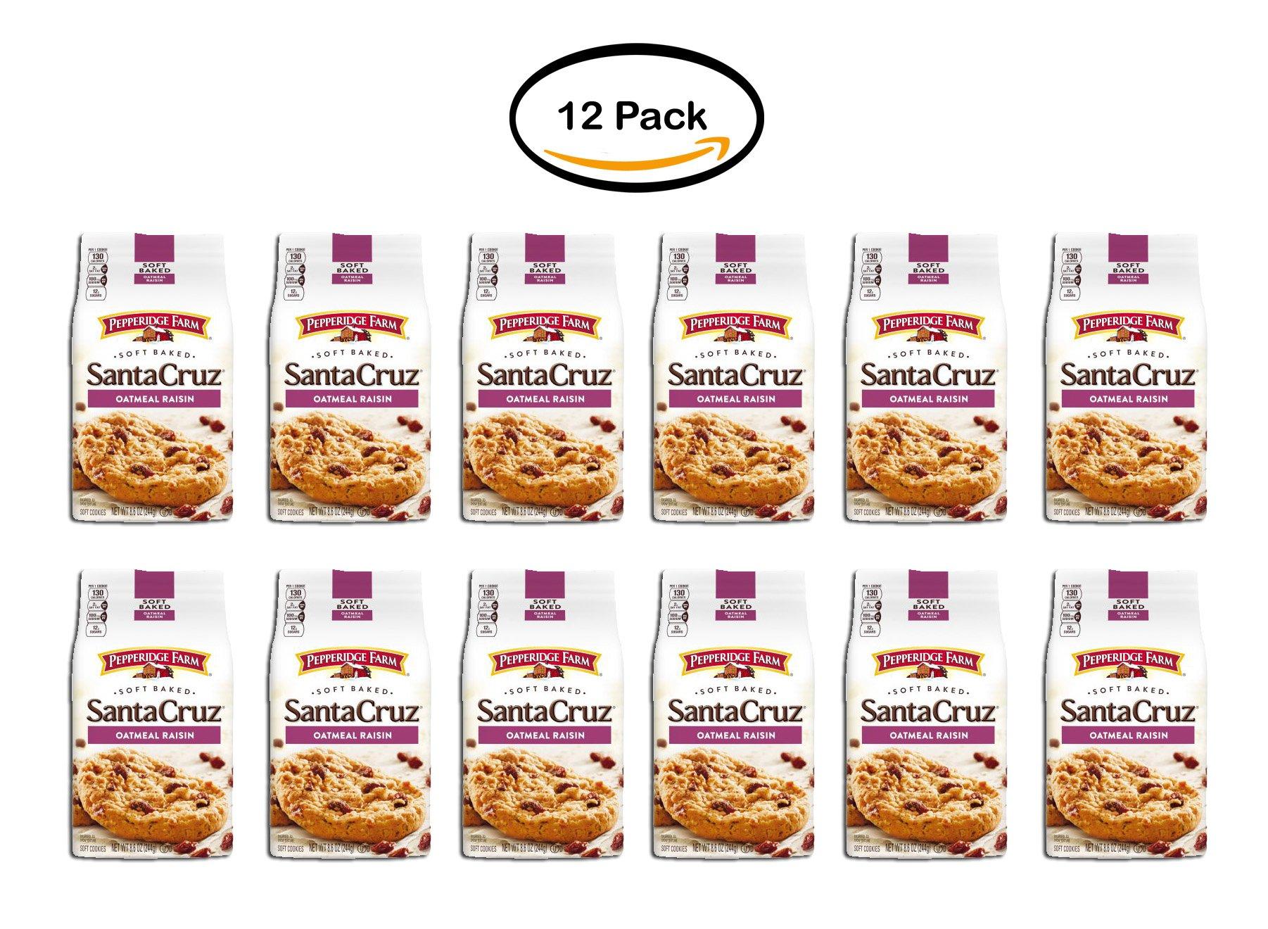 PACK OF 12 - Pepperidge Farm Santa Cruz Soft Baked Oatmeal Raisin Soft Cookies 8.6 oz. Bag by Pepperidge Farm