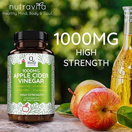 Suplemento de Vinagre de Cidra de Manzanas 180 Cápsulas 1000mg | Alta Potencia 500mg por Cápsula y 1000mg por Dosis Diaria | Hecho en RU por Nutravita: ...