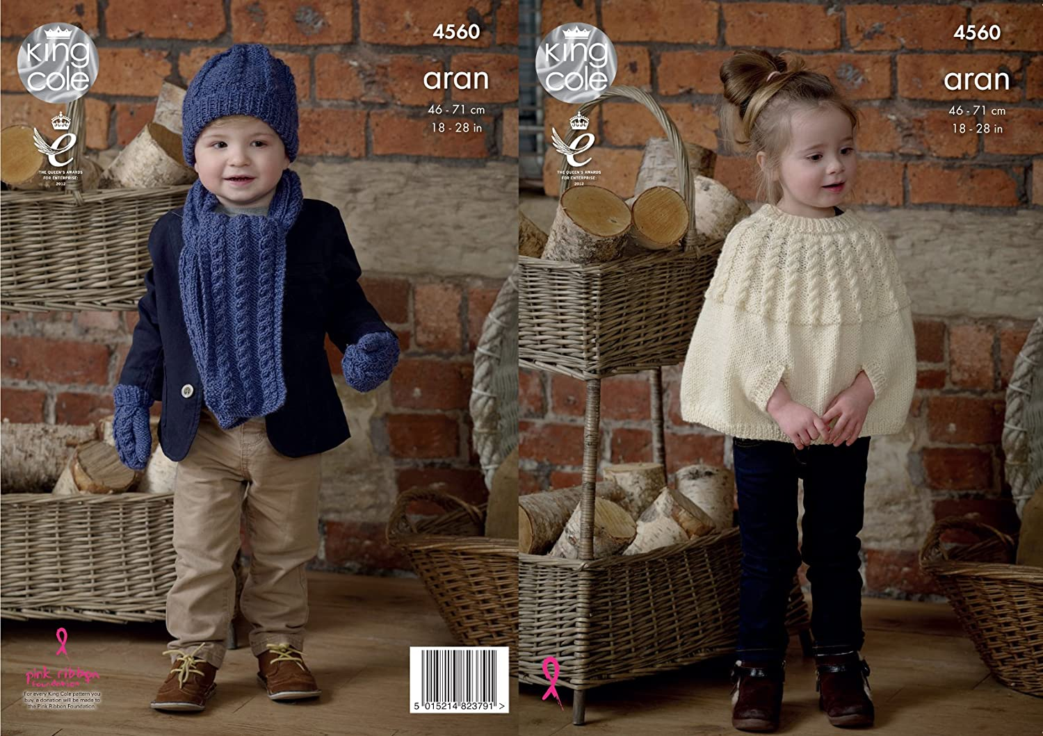 10b00026d4d King Cole 4560 Knitting Pattern Childrens Cape Scarf Hat Mittens in Fashion  Aran  Amazon.co.uk  Kitchen   Home