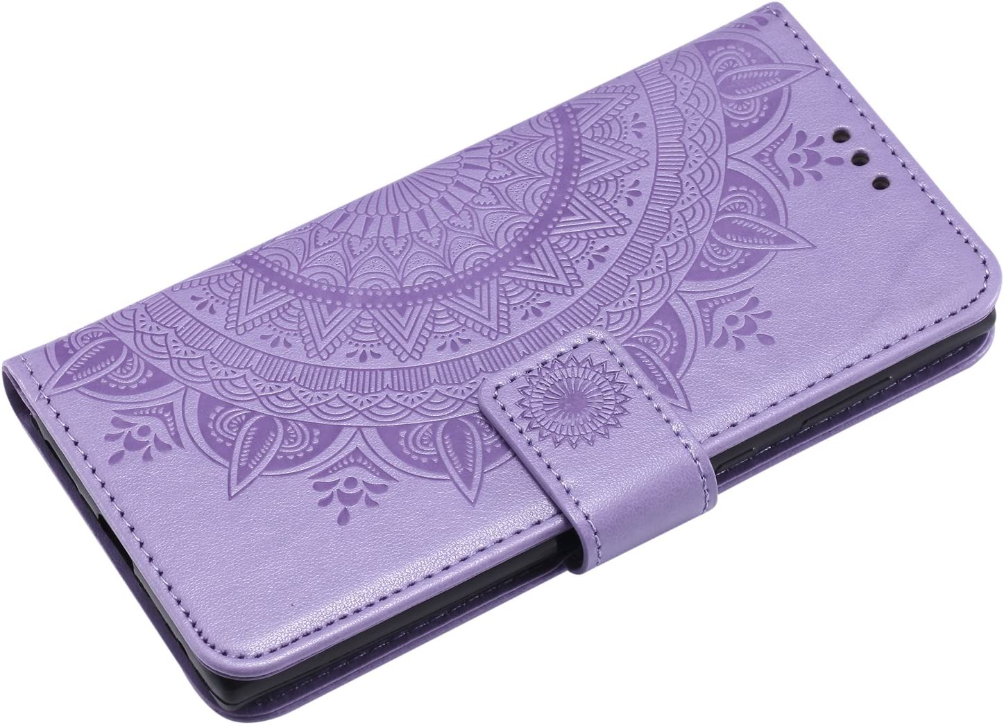 Herbests Compatible with Sony Xperia L1 Case Embossing Mandala Flower Flip Folio Wallet Case Leather Stand Protective Cover Card Slots Magnetic Closure Bookstyle Back Cover,Gold