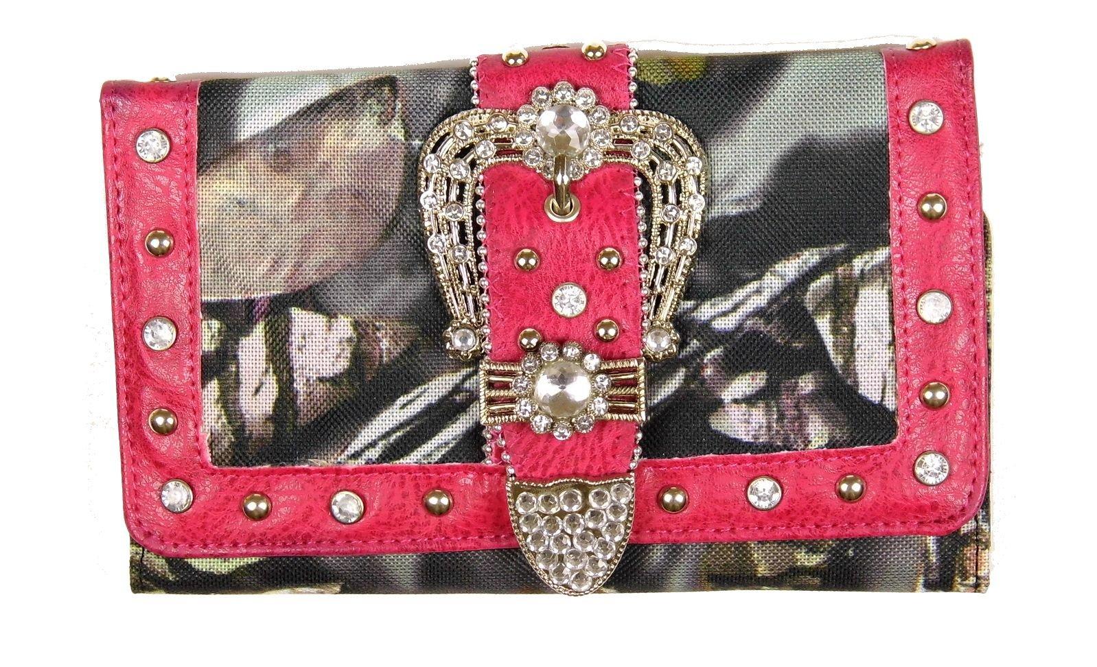 GoCowgirl Western Style Women Wallet Rhinestones (CamoBuckle/Pink1)