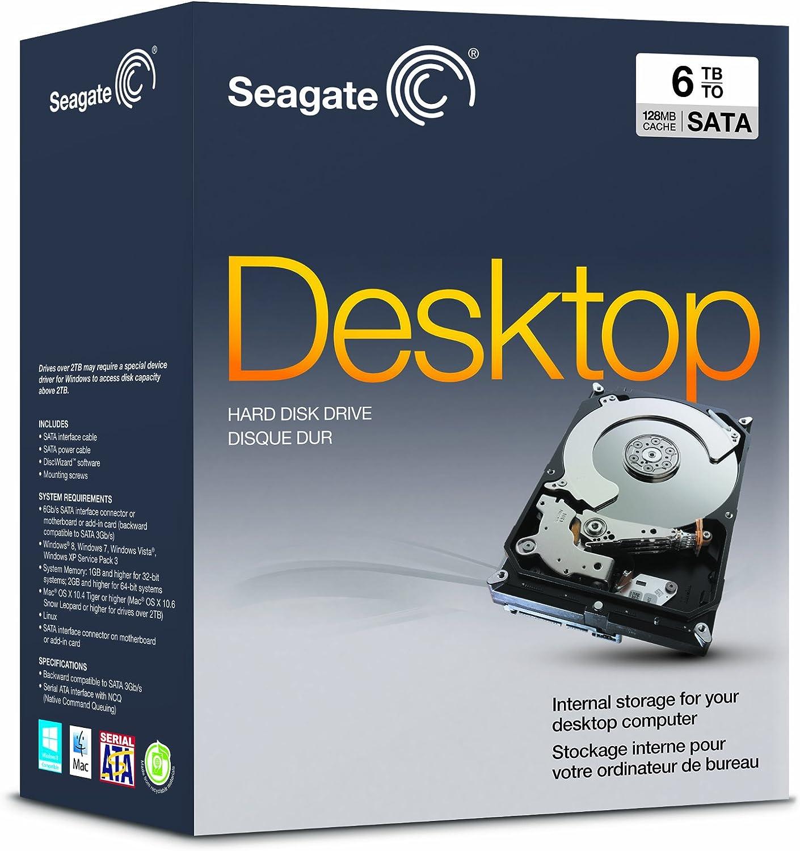 Seagate 6TB Desktop HDD 6Gb/s 128MB Cache 3.5-Inch Internal Drive Retail Kit (STBD6000100)