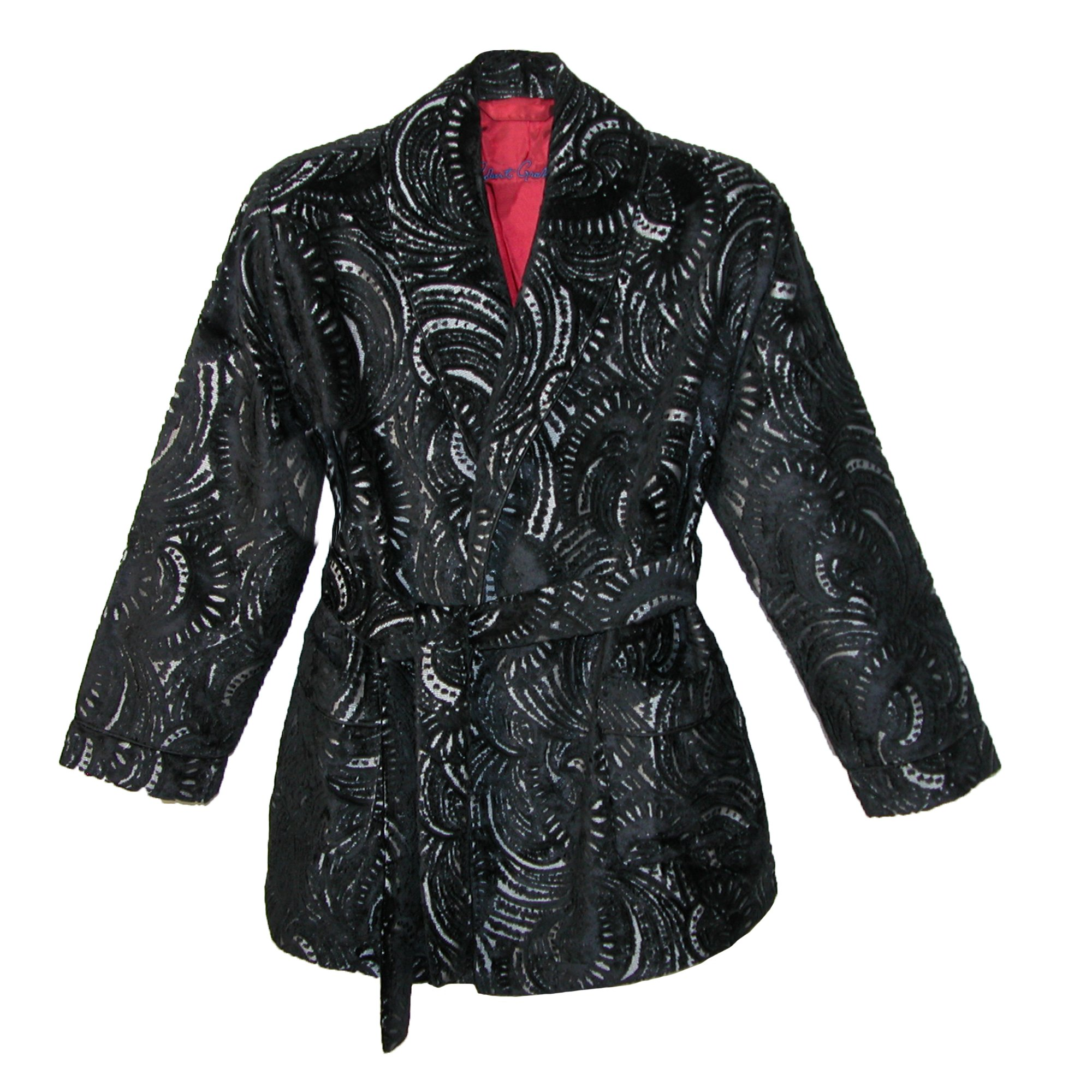 Robert Graham Men's Viareggio Smoking Jacket, Black Pattern, Small/Medium
